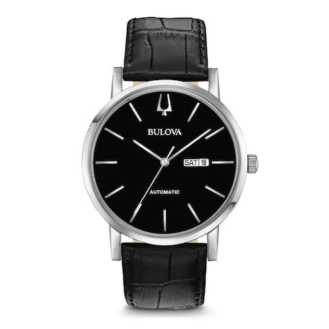 Bulova Men's 96C131 Automatic Black Dial Leather Strap Watch