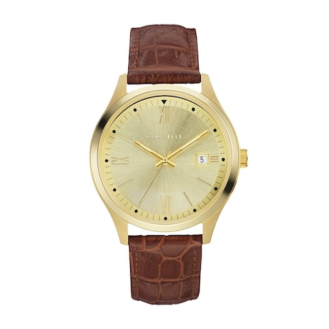 Caravelle Designed by Bulova Men's 44B119 Gold-Tone Stainless Brown Leather Strap Watch