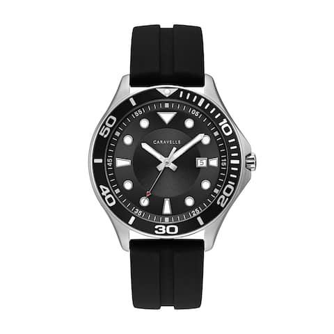 Caravelle Designed by Bulova Men's 43B154 Black Dial Black Silicone Strap Sport Watch