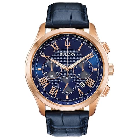Bulova Men's 97B170 Wilton Rosegold Chrono Blue Leather Strap Watch