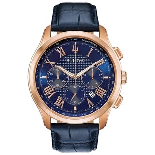 Link to Bulova Men's 97B170 Wilton Rosegold Chrono Blue Leather Strap Watch Similar Items in Men's Watches