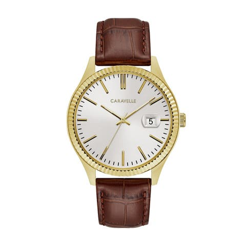 Caravelle Designed by Bulova Men's 44B115 Gold-Tone Stainless Coin-Edge Bezel Brown Leather Strap Watch