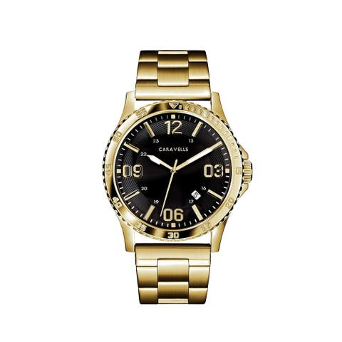 Caravelle Designed by Bulova Men's 44B120 Gold-Tone Stainless Black Dial Bracelet Watch