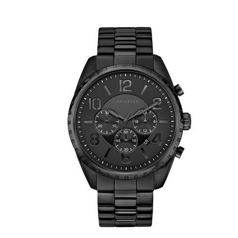 Caravelle Designed by Bulova Men's 45B150 Chrono Black Stainless Bracelet Watch