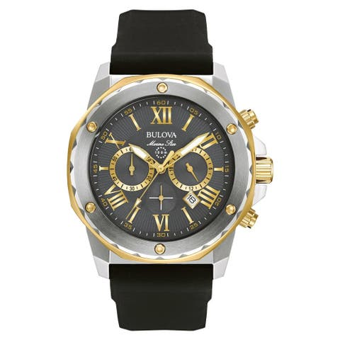 Bulova Men's 98B277 Marine Star Two-tone Chrono Black Silicone Strap Watch