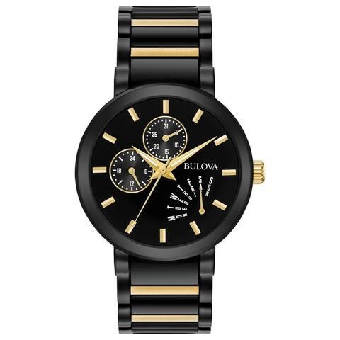 Bulova Men's 98C124 Classic Two-tone Black Dial Bracelet Watch