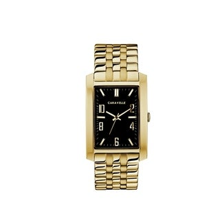 Caravelle Designed by Bulova Men's 44A110 Rectangular Gold-Tone Stainless Bracelet Watch