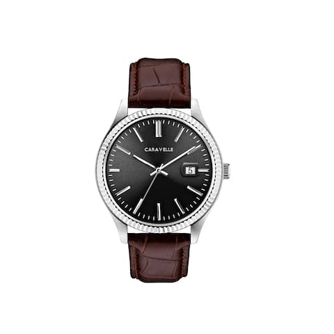 Caravelle Designed by Bulova Men's 43B156 Stainless Coin-Edge Bezal Brown Leather Strap Watch