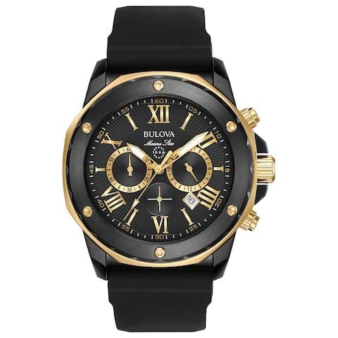 Bulova Men's 98B278 Marine Star Chrono Two-tone Black Silicone Strap Watch