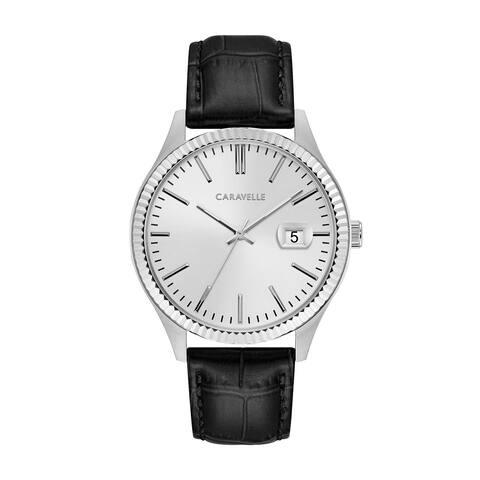 Caravelle Designed by Bulova Men's 43B150 Stainless Coin Edge Bezel Black Leather Strap Watch