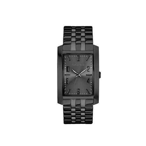Caravelle Designed by Bulova Men's 45A140 Rectangular Black-Tone Stainless Bracelet Watch