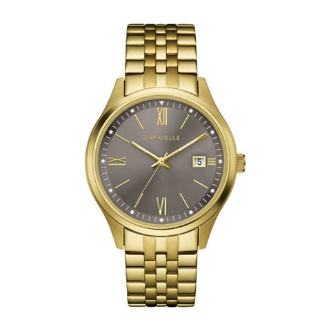 Caravelle Designed by Bulova Men's 44B122 Gold-Tone Stainless Grey Dial Braceclet Watch