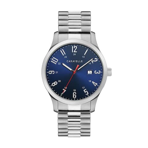 Caravelle Designed by Bulova Men's 43B161 Stainless Blue Dial Expansion Band Watch