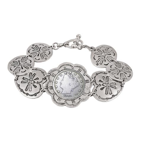 Liberty Nickel Western Toggle Silvertone Coin Bracelet - Silver