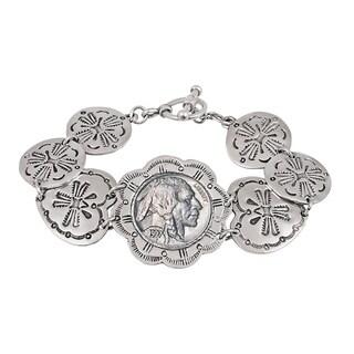Buffalo Nickel Western Toggle Silvertone Coin Bracelet - Silver