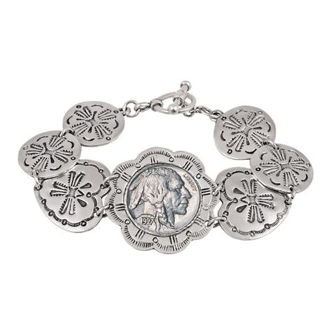 Buffalo Nickel Western Toggle Silvertone Coin Bracelet - Silver