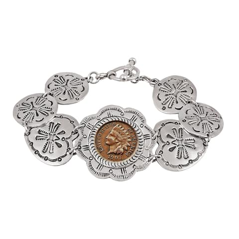 Indian Penny Western Toggle Silvertone Coin Bracelet - Silver