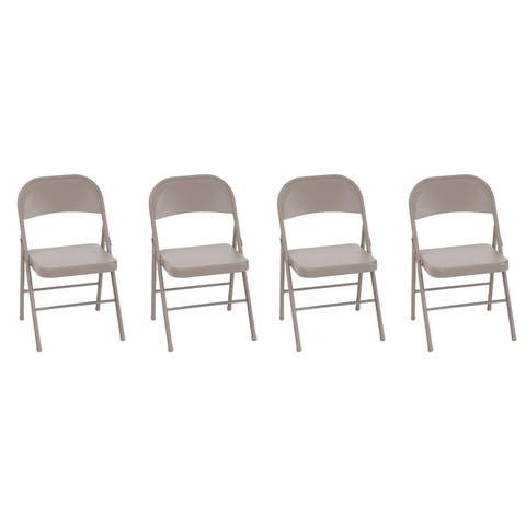 COSCO All-Steel Tan Folding Chair (4-Pack)