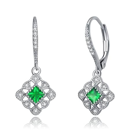 Collette Z Sterling Silver Radiant and Round Cubic Zirconia Adorn Leverback Earrings