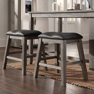 Brandi Grey Upholstered Counter Stools with Nailhead Trim (Set of 2) by iNSPIRE Q Classic