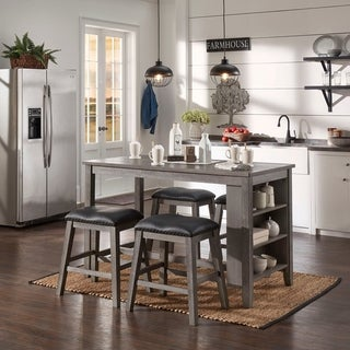Brandi Grey Counter Height 5-piece Dining Set with Side Storage by iNSPIRE Q Classic