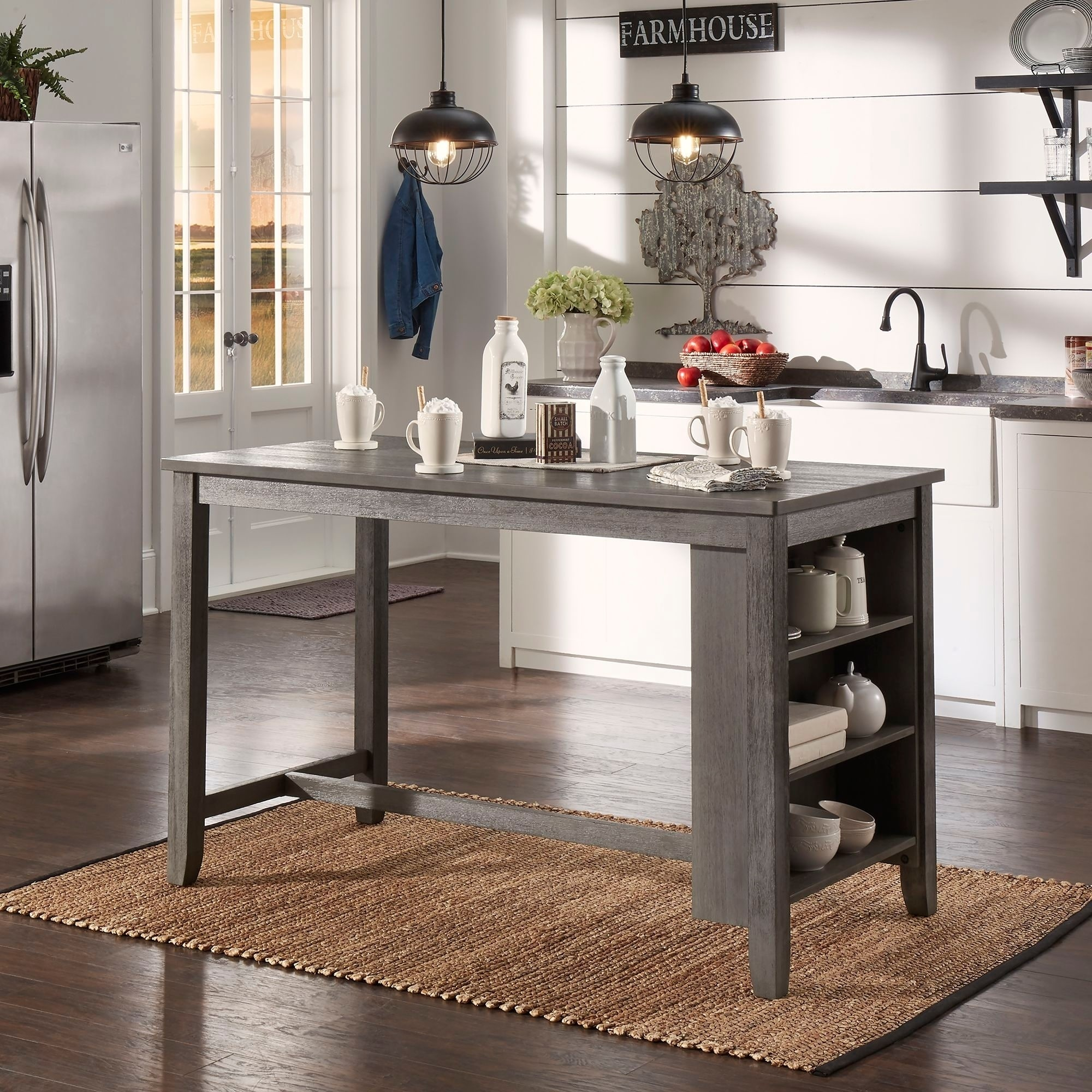 Brandi Grey Counter Height 5 Piece Dining Set With Side Storage By Inspire Q Clic