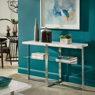 Silver Orchid Bellamy Marble-top Chrome Framed Sofa Table
