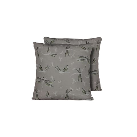 Dragonfly Outdoor Throw Pillows Square Set of 2