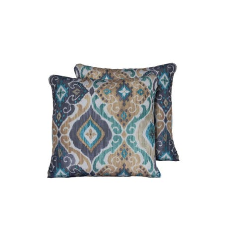 Persian Mist Outdoor Throw Pillows Square Set of 2