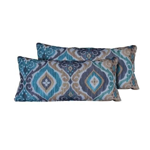 Persian Mist Outdoor Throw Pillows Rectangle Set of 2