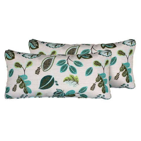 Green Leaf Outdoor Throw Pillows Rectangle Set of 2