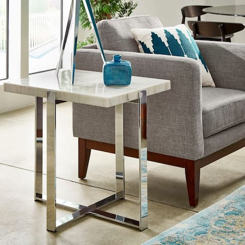 Silver Orchid Bancroft Marble-top Chrome Framed End Table