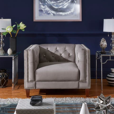 Layla Jewel-tufted Grey Velvet Club Chair with Nailhead Trim by iNSPIRE Q Bold
