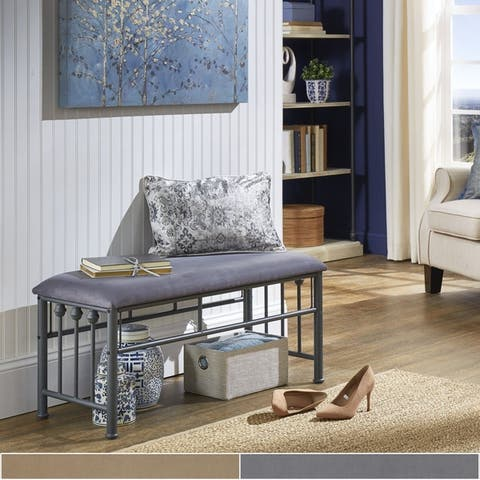 Porch & Den Fawn Metal Accent Bench with Cushion