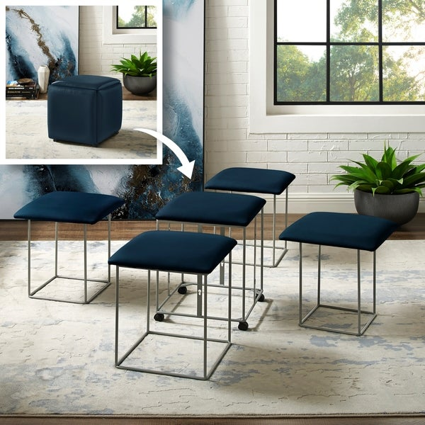 Coleman Leather PU Cube Ottoman - 5 Pieces Nesting Stool Set