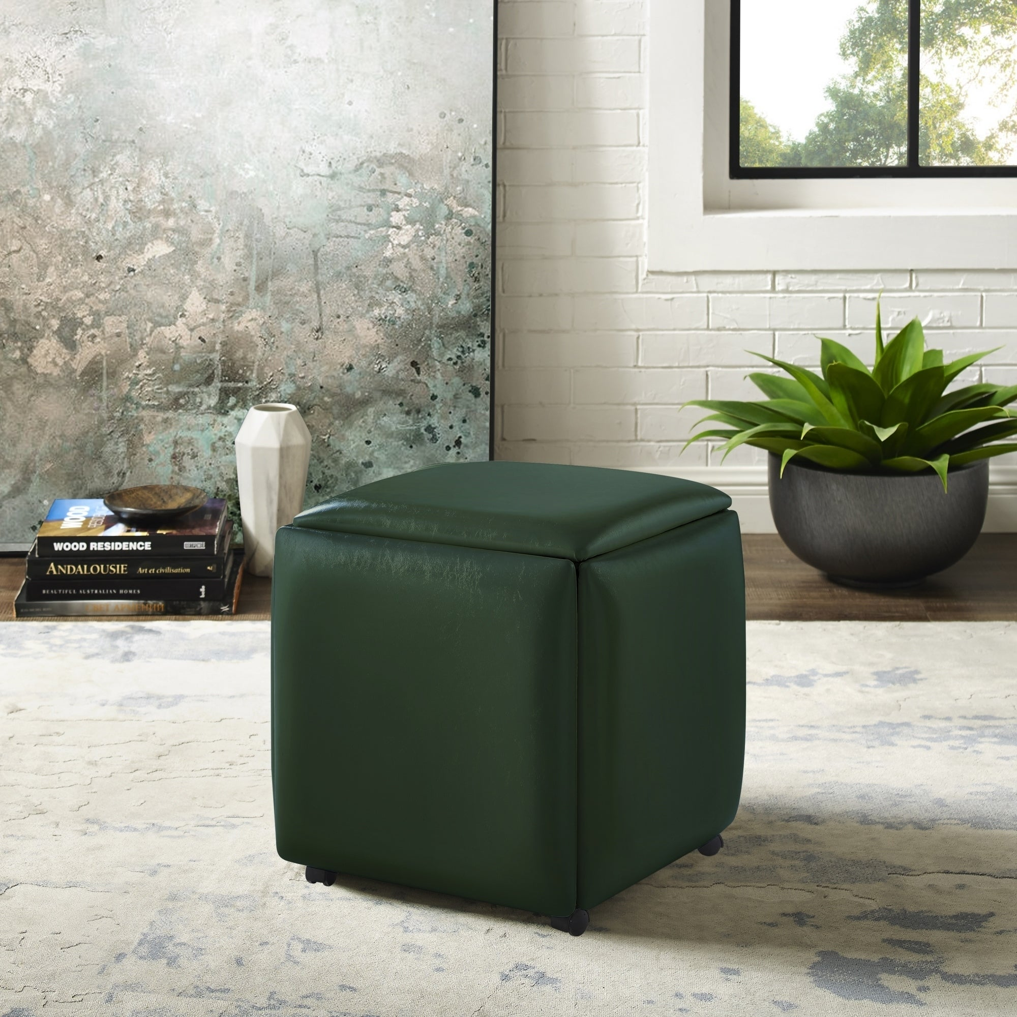Wondrous Coleman Leather Pu Cube Ottoman 5 Pieces Nesting Stool Set Squirreltailoven Fun Painted Chair Ideas Images Squirreltailovenorg