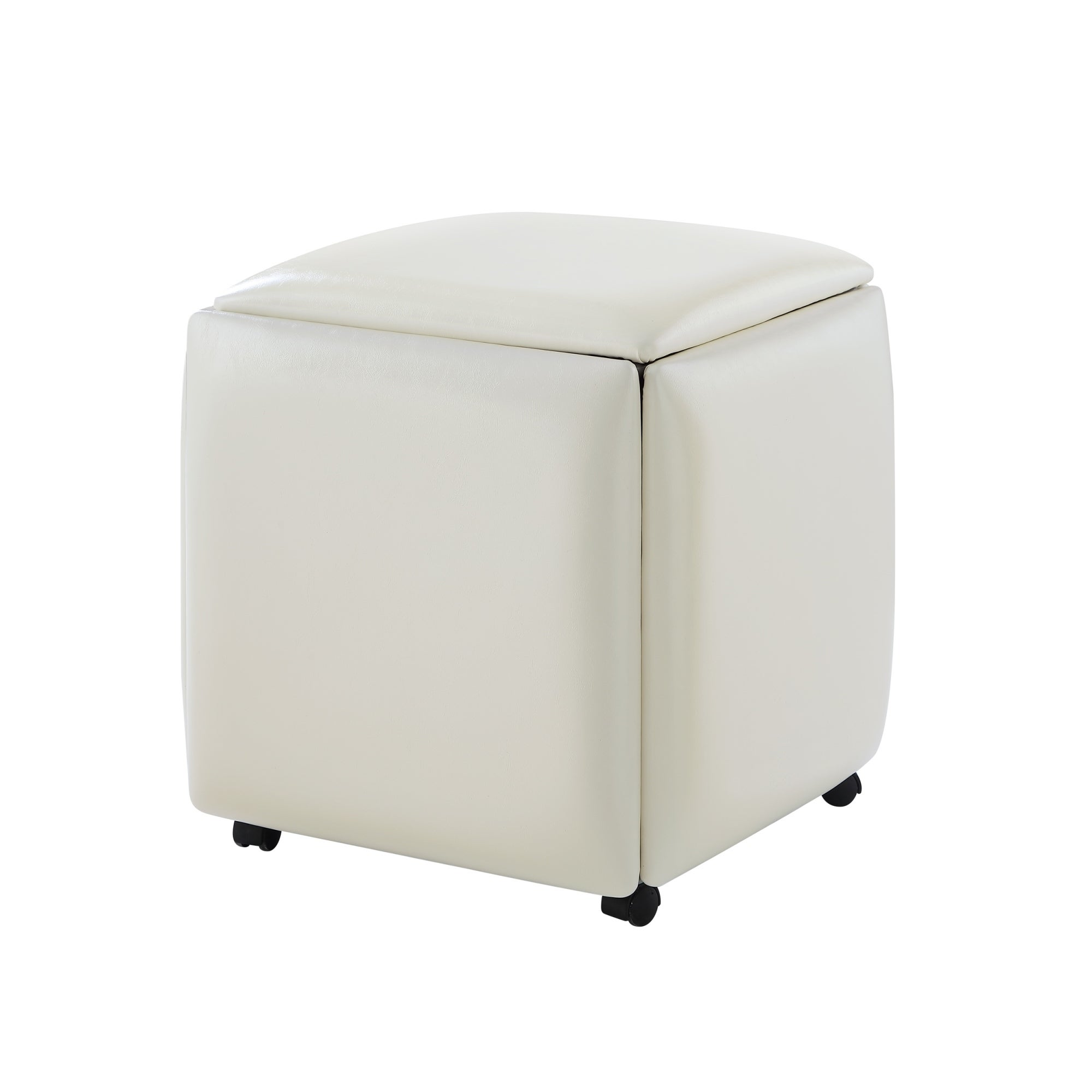 watch 7bf38 40710 Coleman Leather PU Cube Ottoman - 5 Pieces Nesting Stool Set