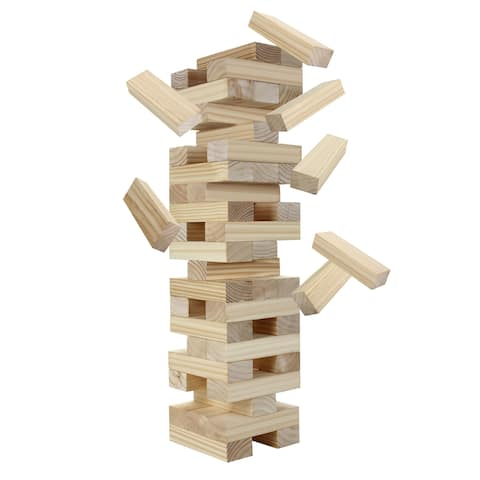 Block Out Wood Toppling Tower Stacking, Collapsing Game w Bag - Pine