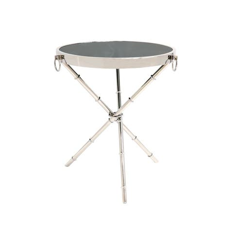 "Pasargad Home Vicenza Collection Steel & Glass Side Table - W20.47""xD20.47""xH23.62"""