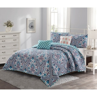 Link to Porch & Den Mills Bohemian Damask Pattern 5-piece Quilt Set Similar Items in Quilts & Coverlets