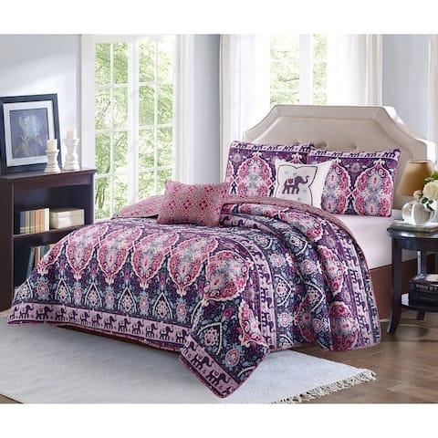 Porch & Den Minter Bridge Bohemian Damask Pattern 5-piece Quilt Set