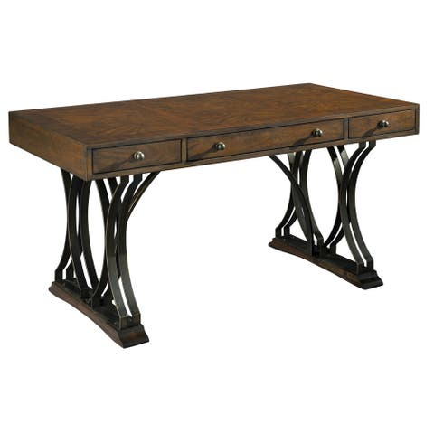 Solid Wood Brass & Acacia Writing Office Desk - Hekman