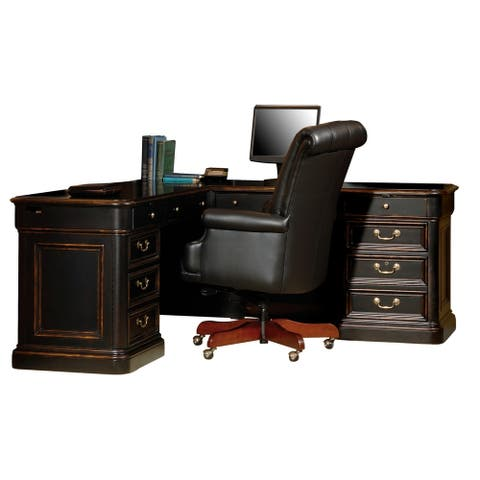 Solid Wood L-shape Executive Office Desk - Home Office
