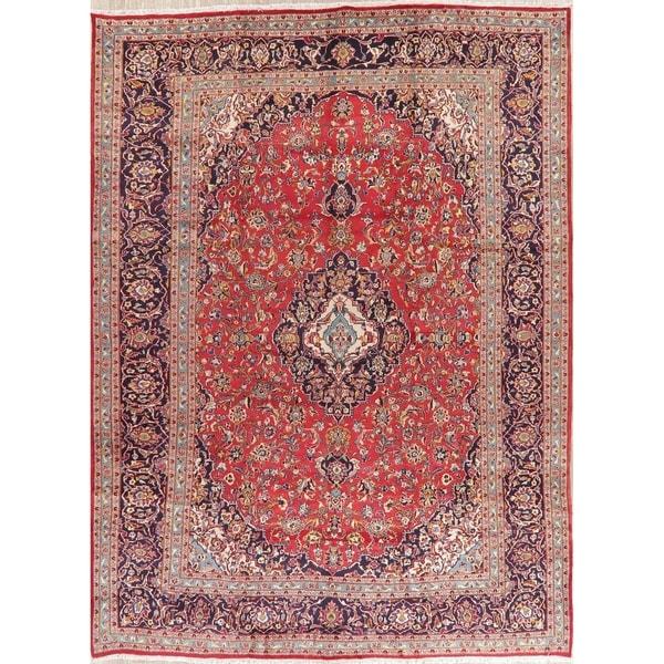 "Vintage Kashan Medallion Oriental Hand Knotted Wool Persian Area Rug - 13'3"" x 9'9"""