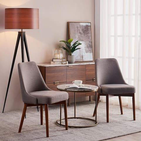Versanora Grayson Dining Chair With Solid Wood Leg, Sand / Walnut Finish, Set Of 2