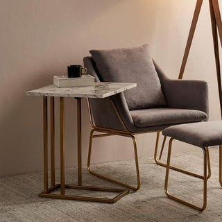 Versanora - Marmo C Shape Extension Table - Marble Finish/ Brass