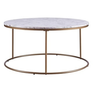 Versanora - Marmo Round Coffee Table - Faux Marble/ Brass