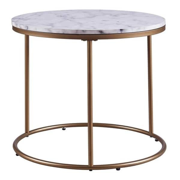 Shop Versanora Marmo Round Side Table Faux Marble Brass On