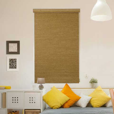 GoDear Design Modern Free Stop Cordless Roller Shade with Cassette Valacne, Natural Woven, Sand