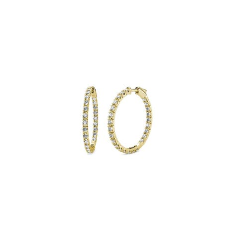 TriJewels Diamond Inside-Out Womens Hoop Earrings 0.90 ctw 14KY Gold